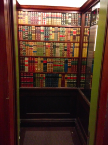 Faux library elevator at the Hotel Stanhope, Brussels