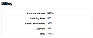Airbnb Fees for our stay