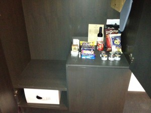 The minibar in the armoire.