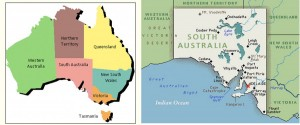 Adelaide (the red star on the right) is the capital of South Australia (pink, on the left), one of Australia's six states