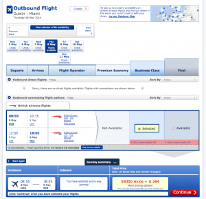 May 8th is the one BA award date we found for DUB-LHR-MIA for the whole month