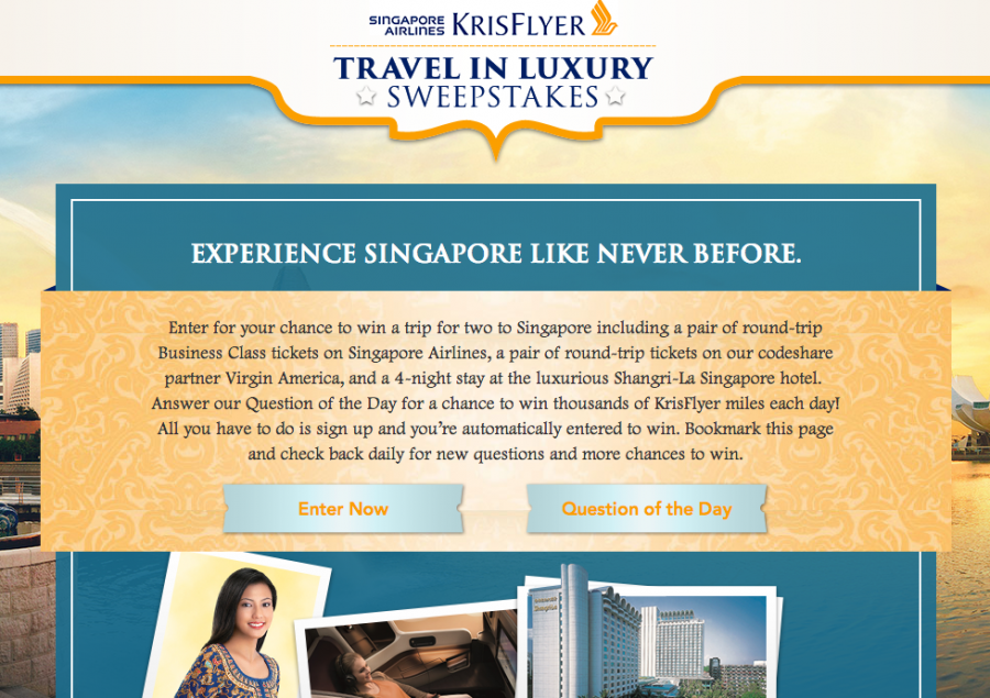 """The home page for Singapore Airlines """"Travel in Luxury"""" sweepstakes features two buttons: Enter Now and Question of the Day"""