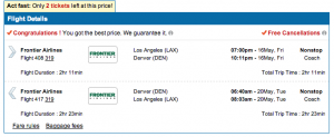 """On the second step of booking a Frontier flight on CheapOAir, two links show up at the bottom left, one of which is """"Baggage fees"""""""