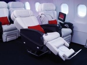Virgin America First Class cabins feature 8 white leather seats
