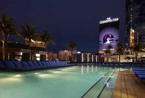 The pool at The Cosmpolitan, a boutique property on the Vegas strip