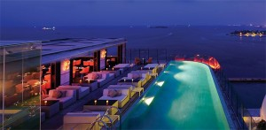 Azur, the rooftop restaurant at Trader Hotel, Maldives, lies beside an infinity pool and overlooks the Indian Ocean
