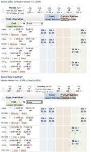 On Alaska's SEA-EWR route in July, there's plenty of award space in Coach and First Class, but none in Premium Economy or Business