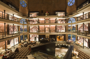 The lobby of The Liberty Hotel in Boston preserves its history as the former 19th century Charles Street Jail
