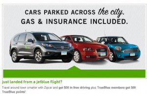 Get 500 True Blue Bonus points for joining Zipcar.