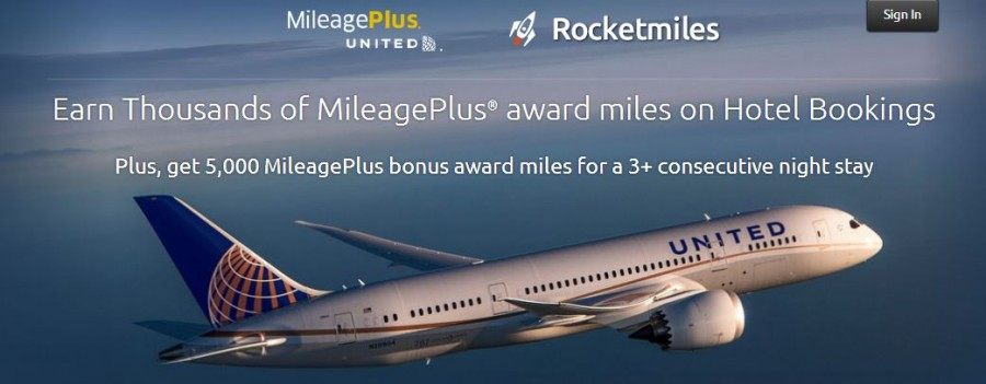 Get United MileagePlus miles with Rocketmiles hotel bookings.