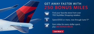 Earn 250 bonus miles on SkyMiles shopping