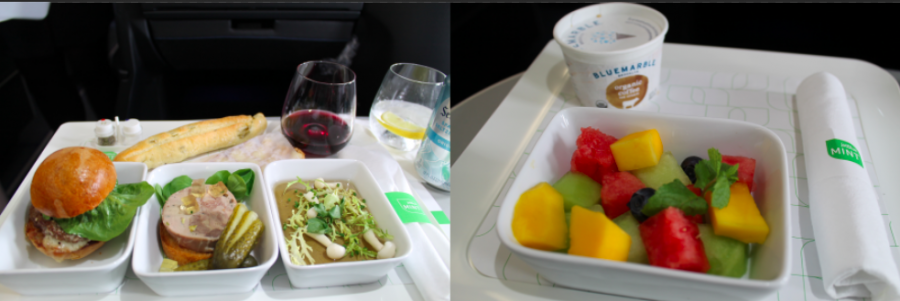 Food curated by Saxon + Parole, served tapas style and customized by the passenger