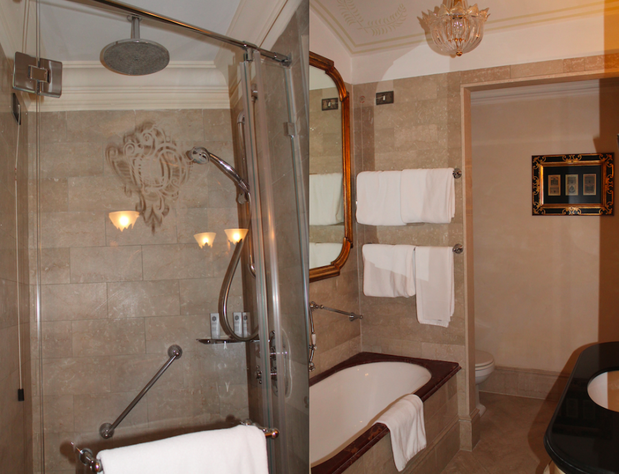 A split shot of the marble bathroom in a Superior Room at the St. Regis Grand Rome
