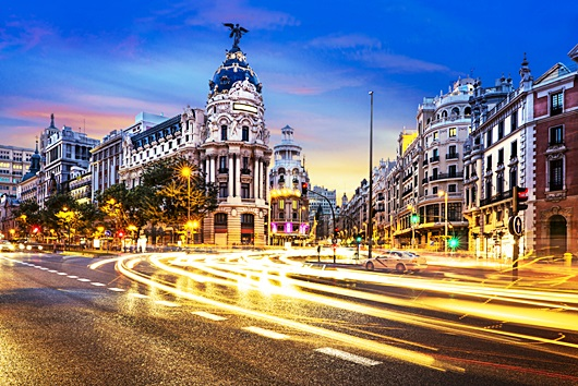 Where Calle Gran Via meets Calle Alcala in Madrid. Image courtesy of Shutterstock