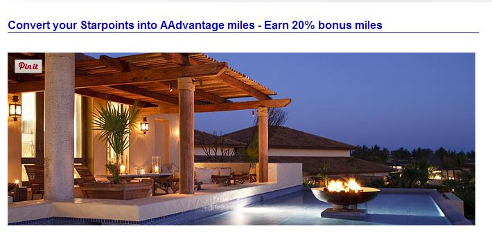 Convert your SPG points to AA miles for a 20% bonus