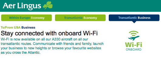 Aer Lingus is the only carrier to offer free Wi-Fi to business class passengers, a model I wish others would follow!