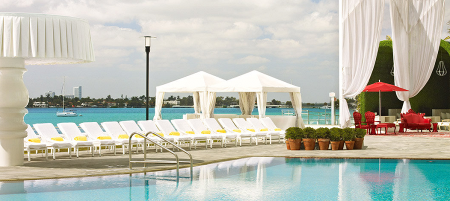 The pool and lounge at the Mondrian South Beach get you right up close to the  fireworks over Miami Beach