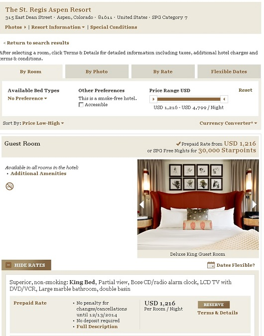 A room in the St. Regis Aspen, Colorado sells for $1,353 during ski season, or 30,000 points.
