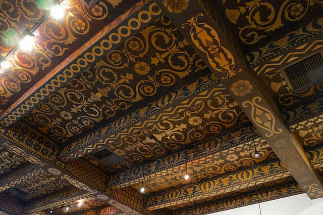 This section of the Wine Cask's hand-painted ceiling, which dates to 1924, survived the 1925 earthquake