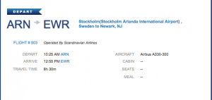 And for the final leg: Stockholm to Newark.