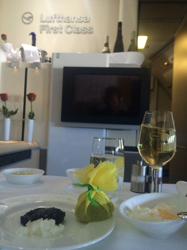 Yup, that's right - Lufthansa first class comes with caviar service