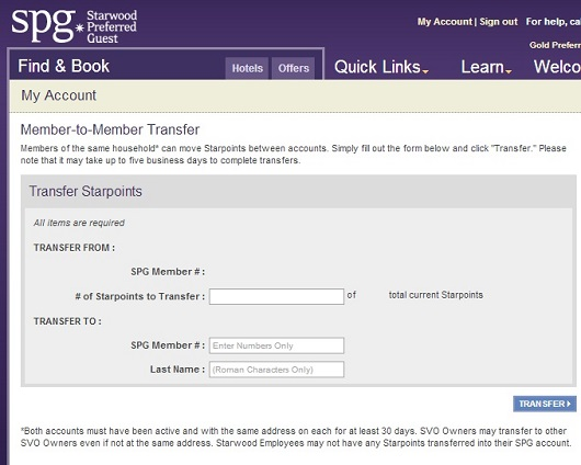 The Starwood Preferred Guest program allows transfers between household members