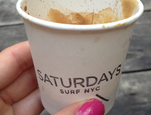 Espresso on the patio at Saturdays Surf