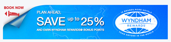 Book by September 30, 2014 to get 25% off a Wyndham stay and 500 bonus points