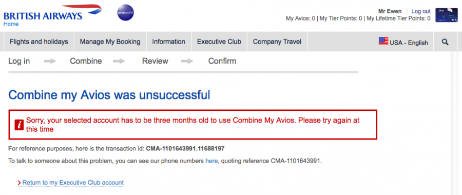 My newly-created Iberia Plus account prevents me from linking my two Avios accounts for back-and-forth transfers.