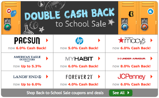 Ebates is offering double (or more!) cash back at certain retailers this summer.