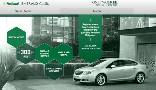 "National Car Rental's ""One Two Free"" promo is back, August 20, 2014-January 31, 2015"