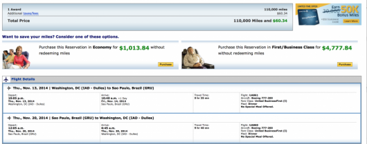 110,000 United miles for a Southern South America award in Business Class.