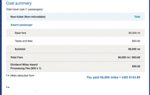The final tally came to 90,000 miles and $143 all in - not bad!