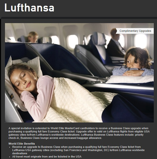 Upgrades to business class from full fare economy can be a very valuable World Elite MasterCard benefit.