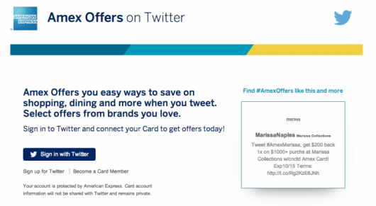 "Use the ""Sign in with twitter button"" to begin the process of syncing your Amex card with your Twitter account"