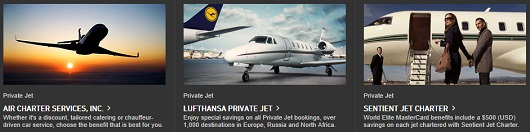 I can honestly say that I have never booked a private jet without using a World Elite MasterCard.