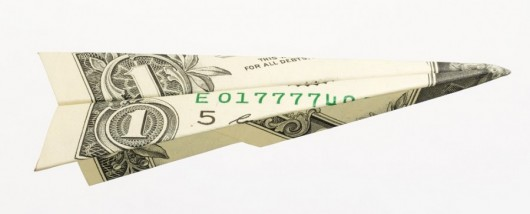 Airline bank paper airplane dollar