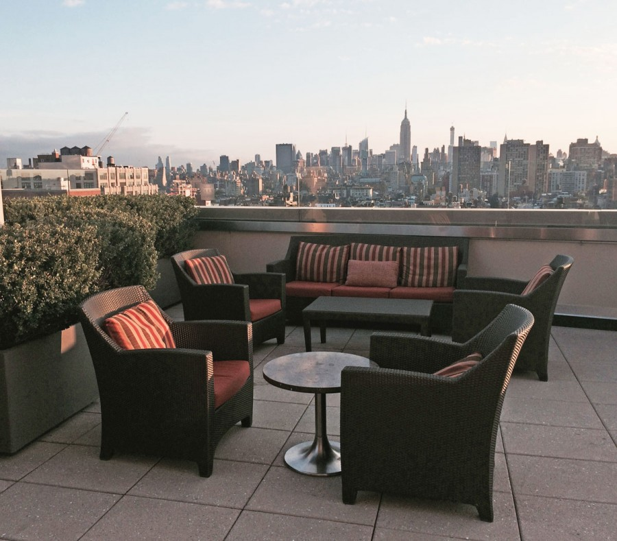 Club lounge roof deck at the Sheraton Tribeca New York