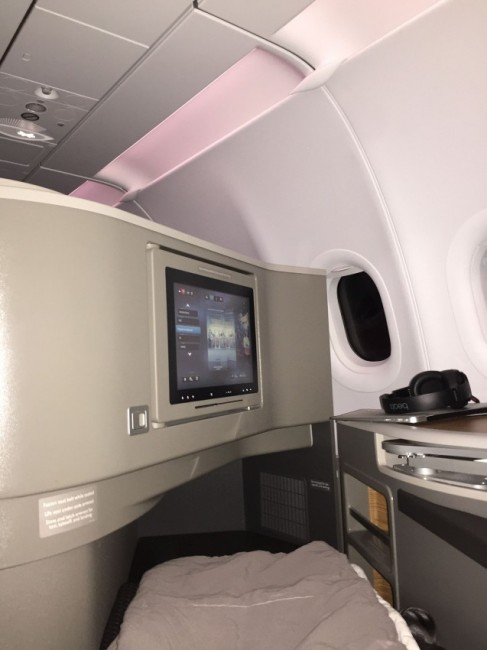 The first class seat...long enough but a bit tight