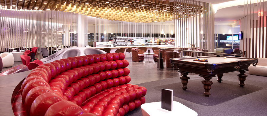 The Virgin Atlantic Clubhouse at JFK gives you numerous amenities, including a pool table!