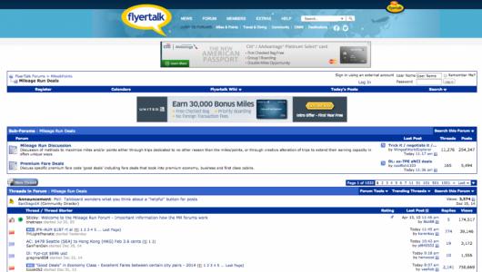 Mileage Run Deals forums on FlyerTalk