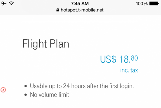 JAL's WiFi cost a reasonable $18.80 for the entire flight.