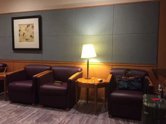 The Sakura Lounge's first class area's main perk is that there are empty seats available.