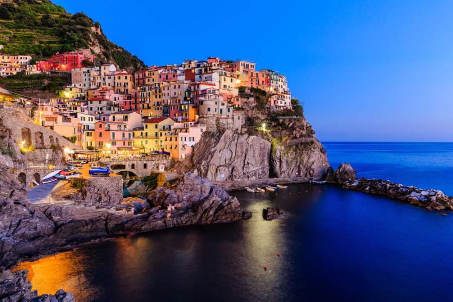 A stunning view of Manarola at twilight. Photo courtesy of Shutterstock.