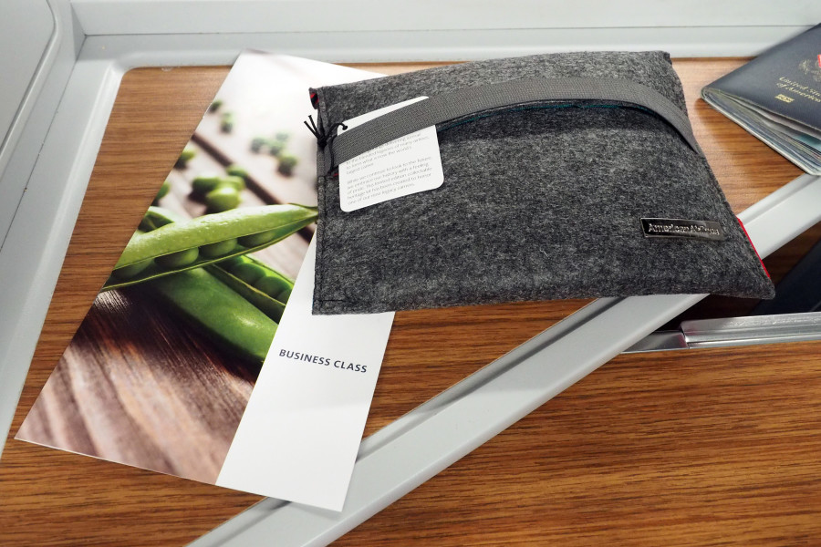 My business-class menu and amenity kit. I only captured from my seat once boarding began.