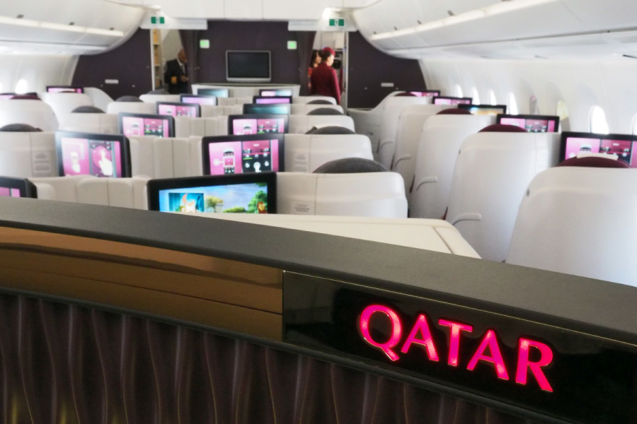 There's tremendous attention to detail on Qatar's A350, from the custom ceiling to this mid-cabin bar.