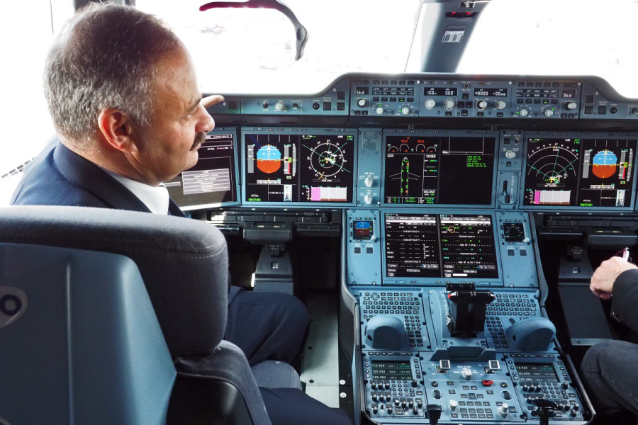 With large, crisp displays, the A350 cockpit is the most modern-looking in the sky.