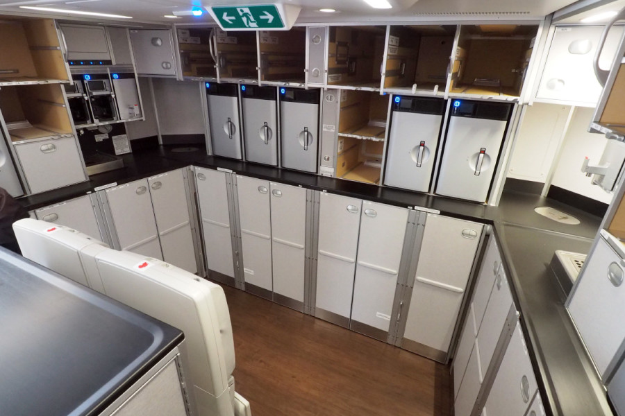 Even the galley areas feel spacious on the A350.