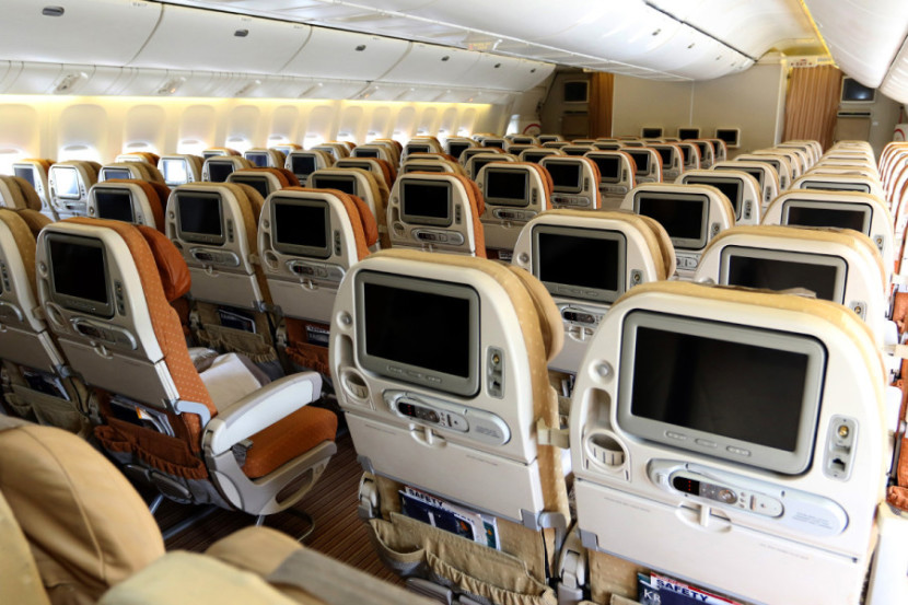 Each seat includes a large 10.1-inch on-demand IFE display. Photo by T.C. Baker/Newscast Creative.