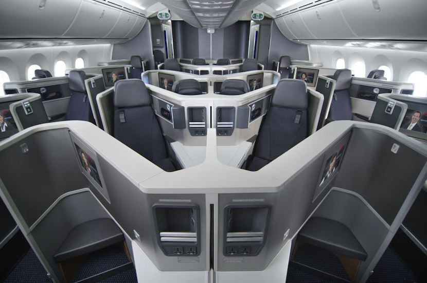American's new business-class seats are angled toward one another.